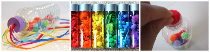 Rainbow Sensory Bottle collage 3